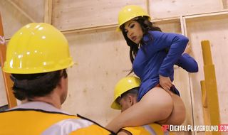 Whorey construction working darling Shay Evans takes 2 schlongs, she needs gonzo humping for sure