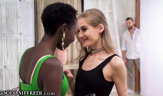 Wonderful, Black woman, Zaawaadi took off her neon sundress and had a threeway with Tiffany Tatum